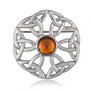 Symbol Of Eternity With Stone Pewter Brooch